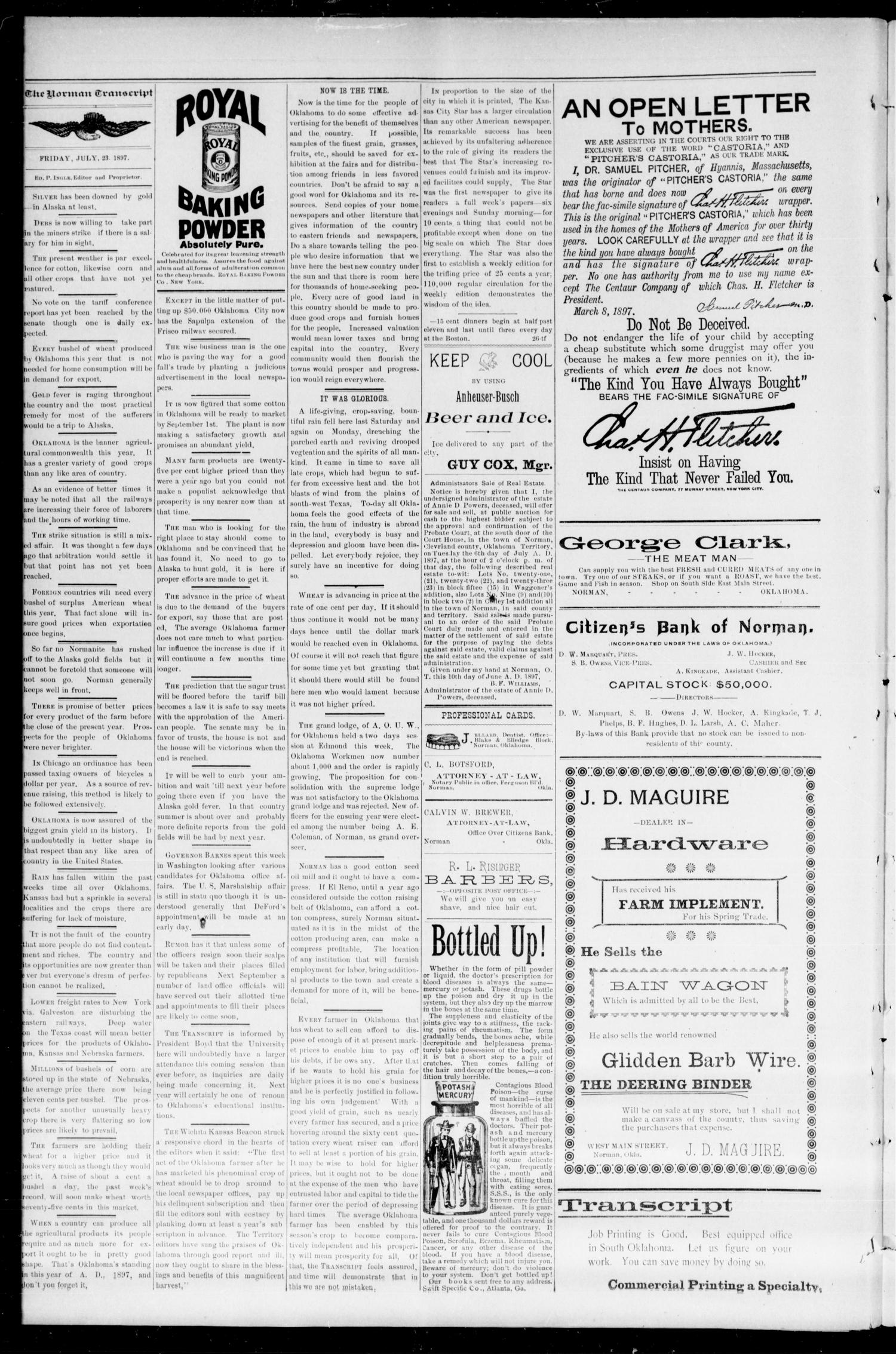 The Norman Transcript. (Norman, Okla. Terr.), Vol. 08, No. 41, Ed. 1 Friday, July 23, 1897                                                                                                      [Sequence #]: 4 of 8