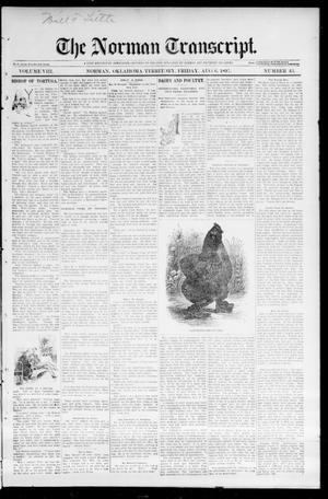 Primary view of object titled 'The Norman Transcript. (Norman, Okla. Terr.), Vol. 08, No. 43, Ed. 1 Friday, August 6, 1897'.
