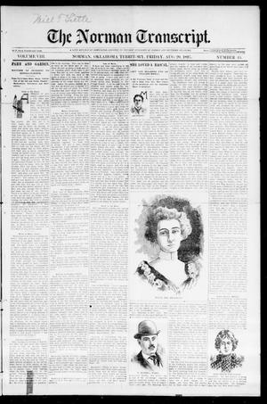 Primary view of object titled 'The Norman Transcript. (Norman, Okla. Terr.), Vol. 08, No. 45, Ed. 1 Friday, August 20, 1897'.