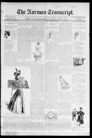 Primary view of object titled 'The Norman Transcript. (Norman, Okla. Terr.), Vol. 08, No. 48, Ed. 1 Friday, September 10, 1897'.