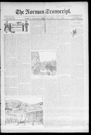 Primary view of object titled 'The Norman Transcript. (Norman, Okla. Terr.), Vol. 08, No. 51, Ed. 1 Friday, October 1, 1897'.