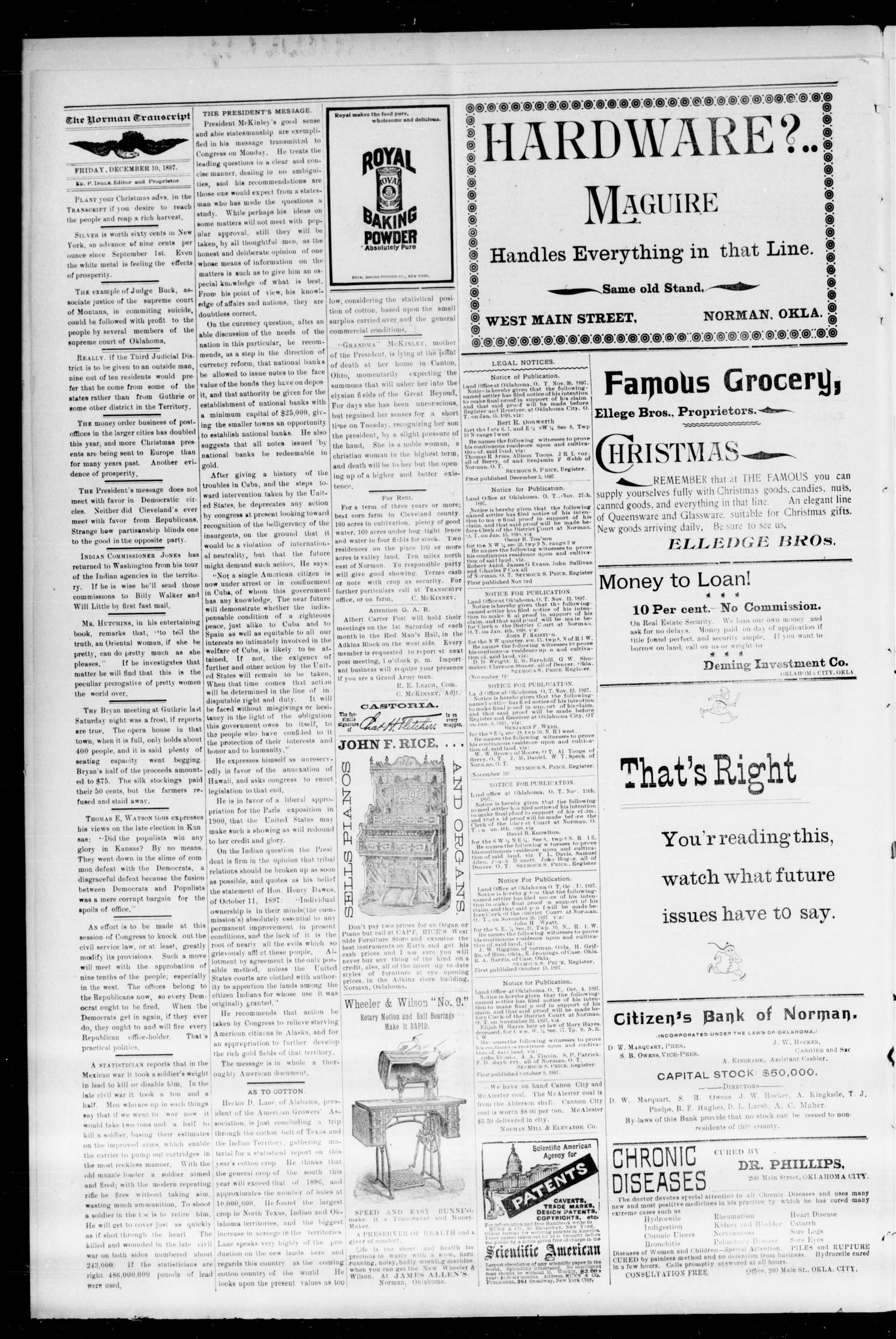 The Norman Transcript. (Norman, Okla.), Vol. 09, No. 09, Ed. 1 Friday, December 10, 1897                                                                                                      [Sequence #]: 4 of 8