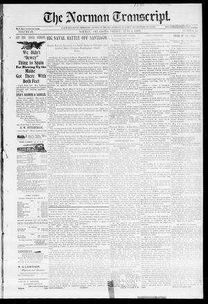 Primary view of object titled 'The Norman Transcript. (Norman, Okla.), Vol. 09, No. 34, Ed. 1 Friday, June 3, 1898'.