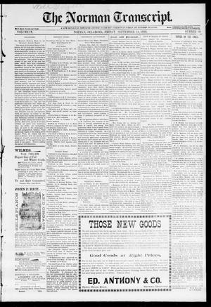 Primary view of object titled 'The Norman Transcript. (Norman, Okla.), Vol. 09, No. 49, Ed. 1 Friday, September 16, 1898'.