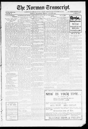 Primary view of object titled 'The Norman Transcript. (Norman, Okla.), Vol. 10, No. 36, Ed. 1 Friday, July 14, 1899'.