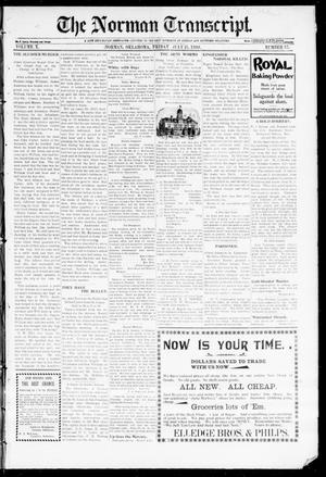 Primary view of object titled 'The Norman Transcript. (Norman, Okla.), Vol. 10, No. 37, Ed. 1 Friday, July 21, 1899'.