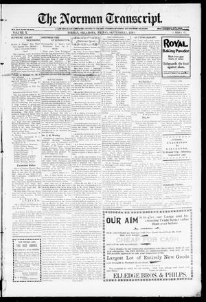 Primary view of object titled 'The Norman Transcript. (Norman, Okla.), Vol. 10, No. 42, Ed. 1 Friday, September 1, 1899'.