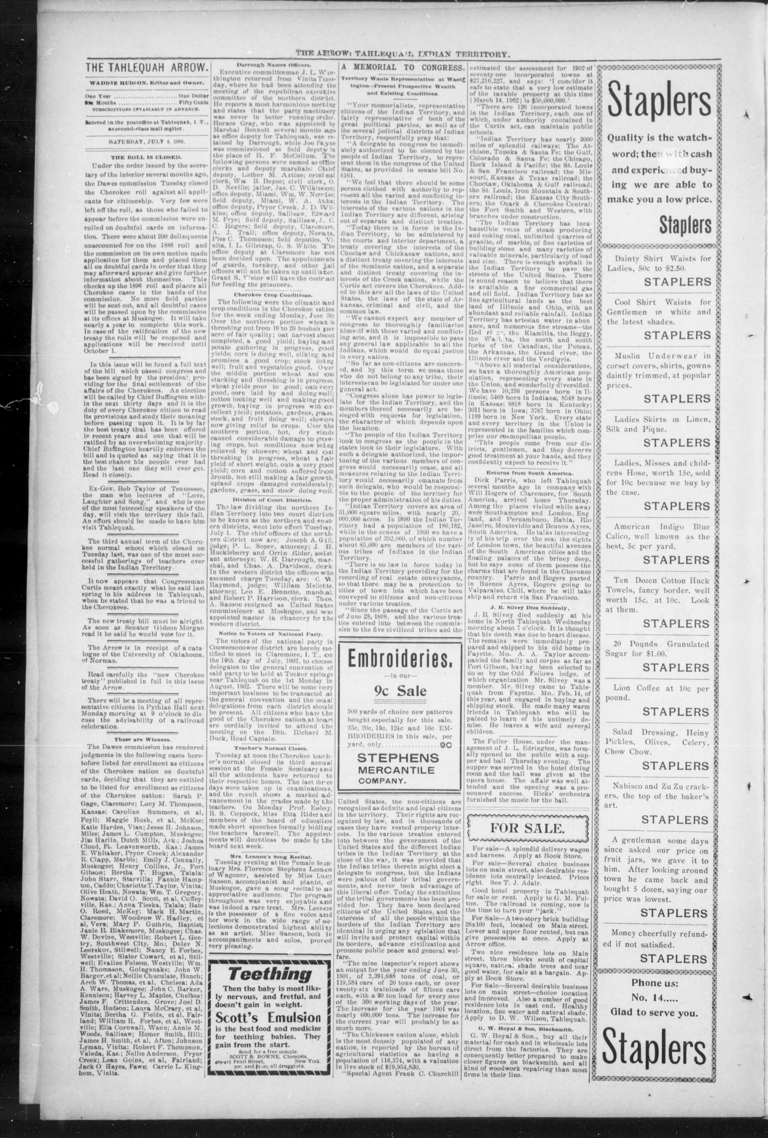 The Tahlequah Arrow. (Tahlequah, Indian Terr.), Vol. 15, No. 43, Ed. 1 Saturday, July 5, 1902                                                                                                      [Sequence #]: 4 of 8