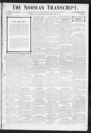 Primary view of object titled 'The Norman Transcript. (Norman, Okla.), Vol. 15, No. 23, Ed. 1 Thursday, April 21, 1904'.