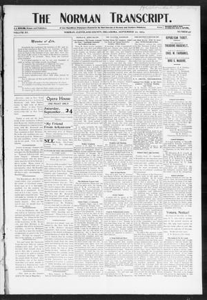 Primary view of object titled 'The Norman Transcript. (Norman, Okla.), Vol. 15, No. 47, Ed. 1 Thursday, September 22, 1904'.