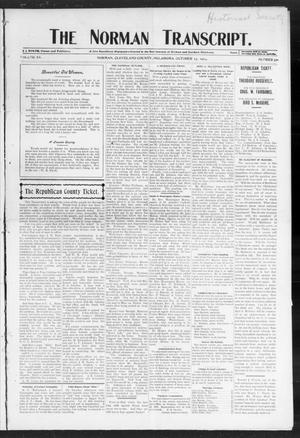 Primary view of object titled 'The Norman Transcript. (Norman, Okla.), Vol. 15, No. 50, Ed. 1 Thursday, October 13, 1904'.