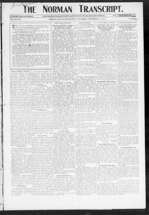 Primary view of object titled 'The Norman Transcript. (Norman, Okla.), Vol. 16, No. 03, Ed. 1 Thursday, November 17, 1904'.