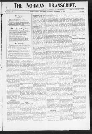 Primary view of object titled 'The Norman Transcript. (Norman, Okla.), Vol. 16, No. 04, Ed. 1 Thursday, November 24, 1904'.