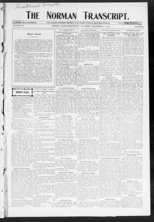 Primary view of object titled 'The Norman Transcript. (Norman, Okla.), Vol. 16, No. 07, Ed. 1 Thursday, December 15, 1904'.