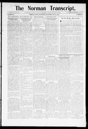 Primary view of object titled 'The Norman Transcript. (Norman, Okla.), Vol. 16, No. 37, Ed. 1 Thursday, July 13, 1905'.