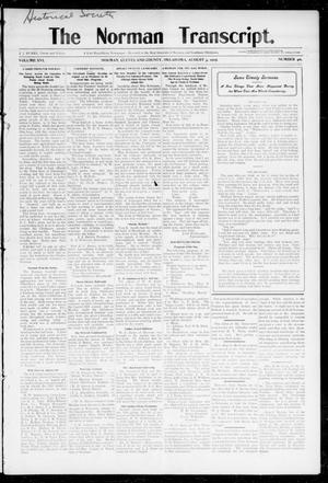 Primary view of object titled 'The Norman Transcript. (Norman, Okla.), Vol. 16, No. 40, Ed. 1 Thursday, August 3, 1905'.