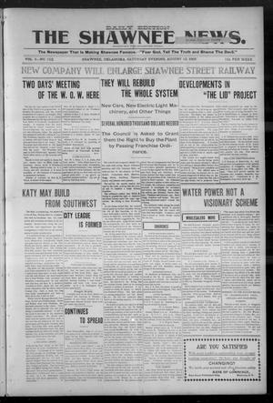 Primary view of object titled 'The Shawnee News. (Shawnee, Okla.), Vol. 9, No. 101, Ed. 1 Saturday, August 12, 1905'.