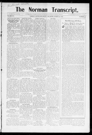 Primary view of object titled 'The Norman Transcript. (Norman, Okla.), Vol. 16, No. 43, Ed. 1 Thursday, August 24, 1905'.