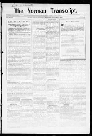 Primary view of object titled 'The Norman Transcript. (Norman, Okla.), Vol. 16, No. 29, Ed. 1 Thursday, September 7, 1905'.