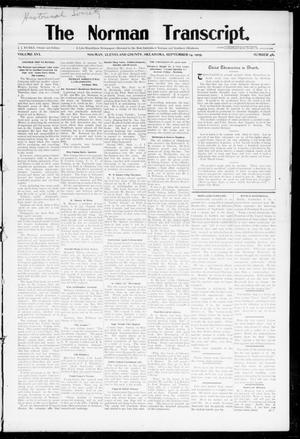 Primary view of object titled 'The Norman Transcript. (Norman, Okla.), Vol. 16, No. 46, Ed. 1 Thursday, September 14, 1905'.