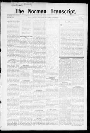 Primary view of object titled 'The Norman Transcript. (Norman, Okla.), Vol. 16, No. 47, Ed. 1 Thursday, September 21, 1905'.