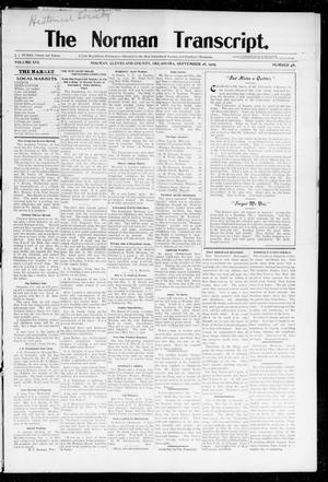 Primary view of object titled 'The Norman Transcript. (Norman, Okla.), Vol. 16, No. 48, Ed. 1 Thursday, September 28, 1905'.