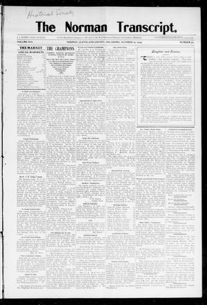 Primary view of object titled 'The Norman Transcript. (Norman, Okla.), Vol. 16, No. 51, Ed. 1 Thursday, October 19, 1905'.