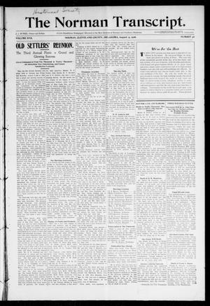 Primary view of object titled 'The Norman Transcript. (Norman, Okla.), Vol. 17, No. 40, Ed. 1 Thursday, August 9, 1906'.