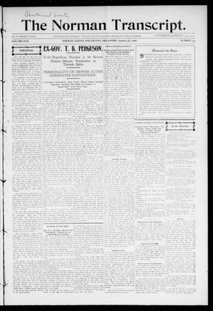 Primary view of object titled 'The Norman Transcript. (Norman, Okla.), Vol. 17, No. 43, Ed. 1 Thursday, August 30, 1906'.
