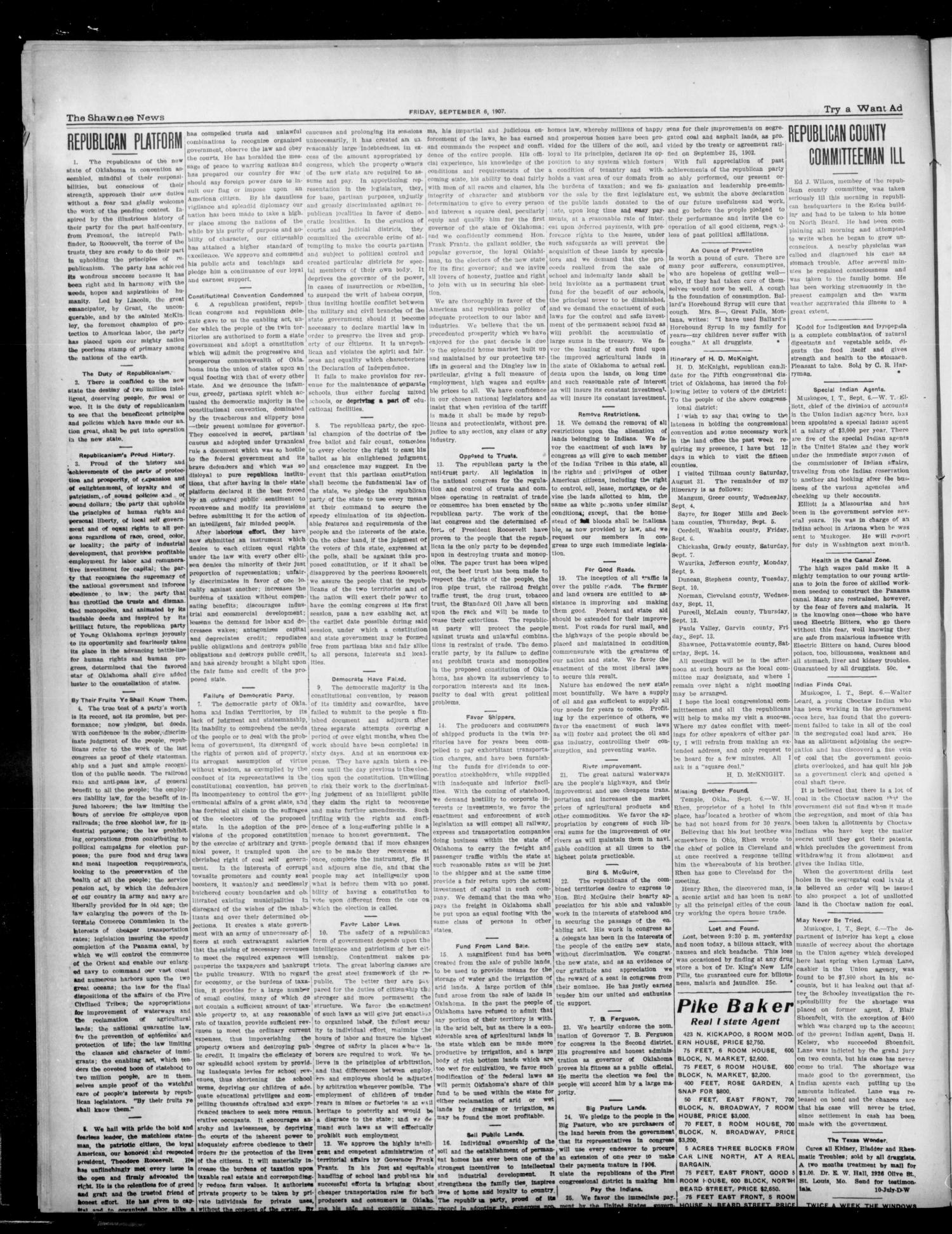 The Shawnee News. (Shawnee, Okla.), Vol. 10, No. 223, Ed. 1 Friday, September 6, 1907                                                                                                      [Sequence #]: 4 of 8