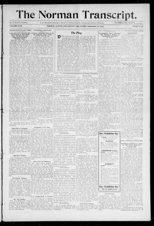 Primary view of object titled 'The Norman Transcript. (Norman, Okla.), Vol. 18, No. 46, Ed. 1 Thursday, September 26, 1907'.