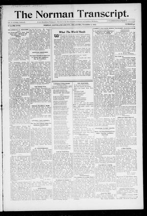 Primary view of object titled 'The Norman Transcript. (Norman, Okla.), Vol. 18, No. 52, Ed. 1 Thursday, November 7, 1907'.