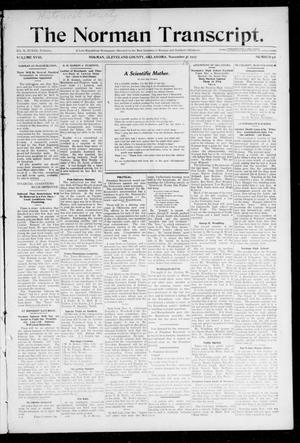Primary view of object titled 'The Norman Transcript. (Norman, Okla.), Vol. 19, No. 1, Ed. 1 Thursday, November 14, 1907'.