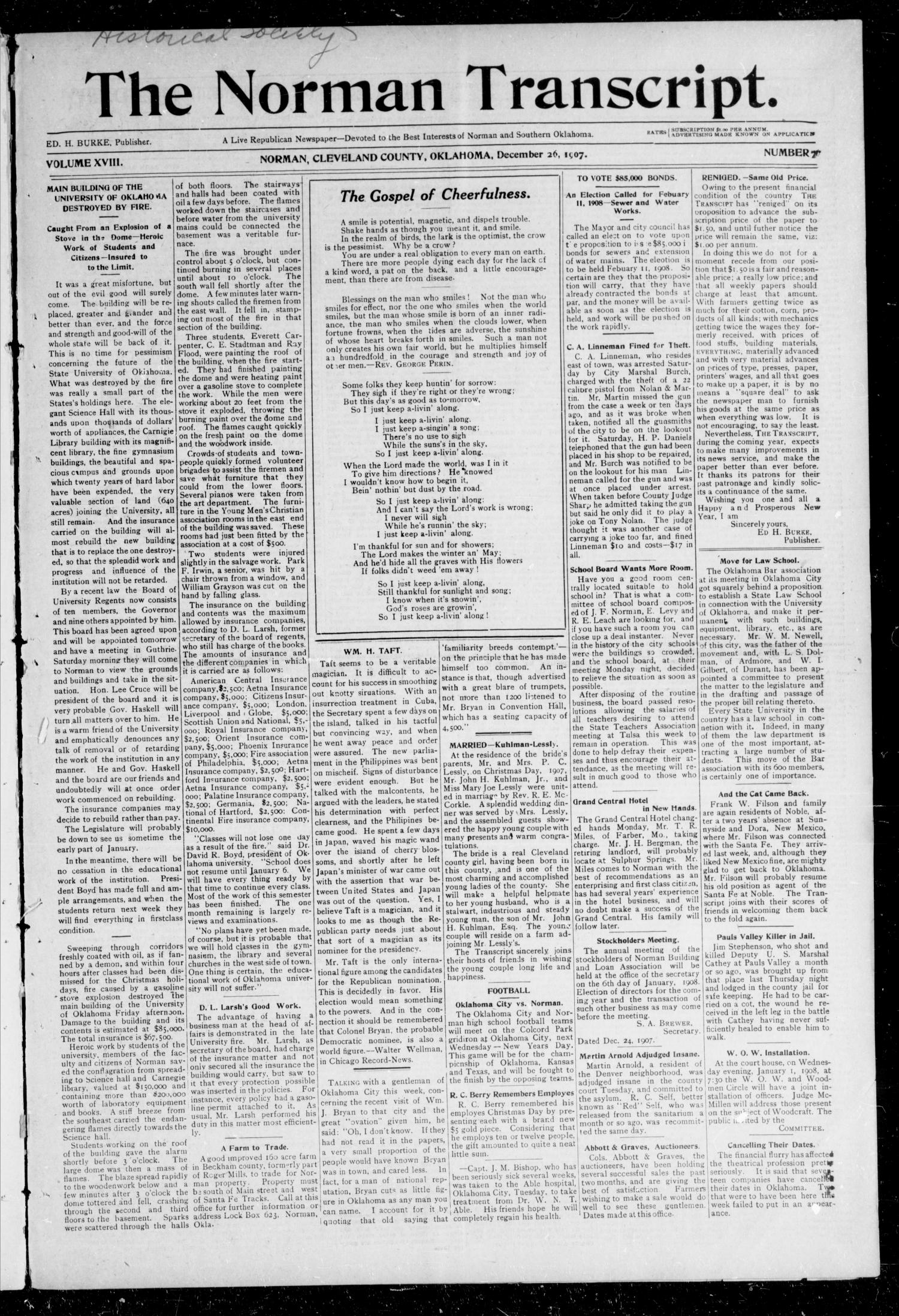 The Norman Transcript. (Norman, Okla.), Vol. 19, No. 7, Ed. 1 Thursday, December 26, 1907                                                                                                      [Sequence #]: 1 of 8