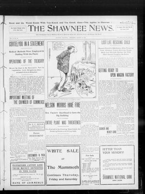 Primary view of object titled 'The Shawnee News. (Shawnee, Okla.), Vol. 13, No. 90, Ed. 1 Wednesday, January 29, 1908'.