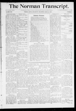 Primary view of object titled 'The Norman Transcript. (Norman, Okla.), Vol. 18, No. 11, Ed. 1 Thursday, January 30, 1908'.