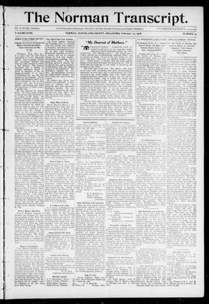Primary view of object titled 'The Norman Transcript. (Norman, Okla.), Vol. 18, No. 14, Ed. 1 Thursday, February 20, 1908'.