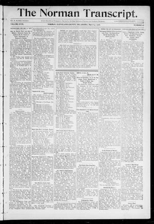 Primary view of object titled 'The Norman Transcript. (Norman, Okla.), Vol. 18, No. 16, Ed. 1 Thursday, March 5, 1908'.