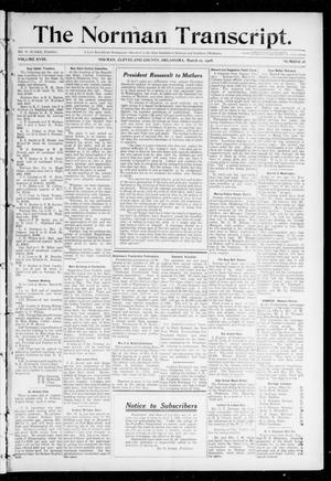 Primary view of object titled 'The Norman Transcript. (Norman, Okla.), Vol. 18, No. 18, Ed. 1 Thursday, March 19, 1908'.