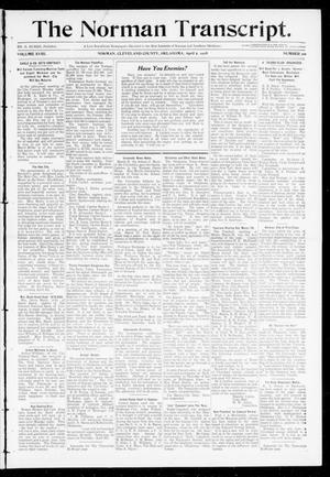 Primary view of object titled 'The Norman Transcript. (Norman, Okla.), Vol. 18, No. 20, Ed. 1 Thursday, April 2, 1908'.