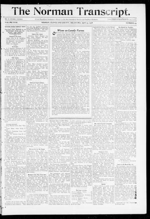 Primary view of object titled 'The Norman Transcript. (Norman, Okla.), Vol. 18, No. 23, Ed. 1 Thursday, April 23, 1908'.