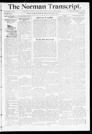 Primary view of object titled 'The Norman Transcript. (Norman, Okla.), Vol. 18, No. 24, Ed. 1 Thursday, April 30, 1908'.