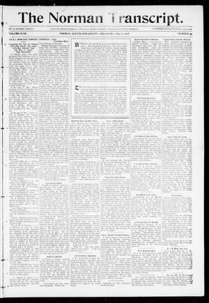 Primary view of object titled 'The Norman Transcript. (Norman, Okla.), Vol. 18, No. 25, Ed. 1 Thursday, May 7, 1908'.