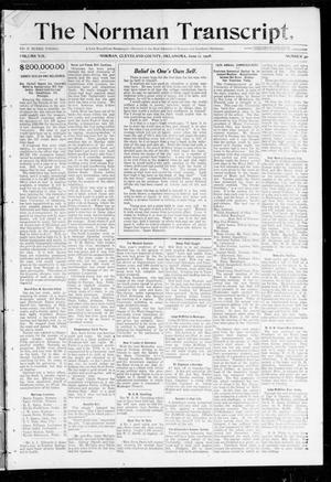 Primary view of object titled 'The Norman Transcript. (Norman, Okla.), Vol. 19, No. 30, Ed. 1 Thursday, June 11, 1908'.