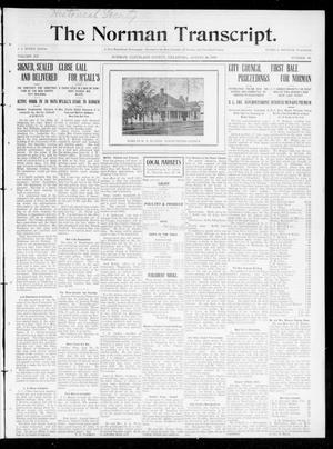 Primary view of object titled 'The Norman Transcript. (Norman, Okla.), Vol. 20, No. 40, Ed. 1 Thursday, August 26, 1909'.