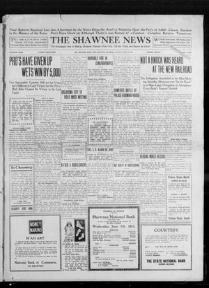 Primary view of object titled 'The Shawnee News (Shawnee, Okla.), Vol. 16, No. 106, Ed. 1 Monday, July 24, 1911'.