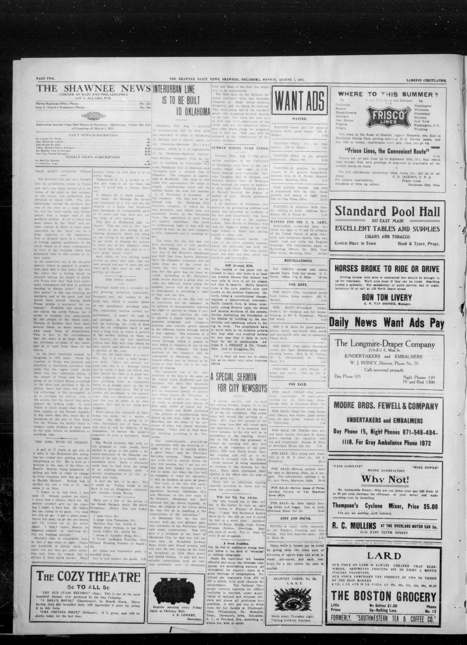 The Shawnee News (Shawnee, Okla.), Vol. 16, No. 116, Ed. 1 Monday, August 7, 1911                                                                                                      [Sequence #]: 2 of 4