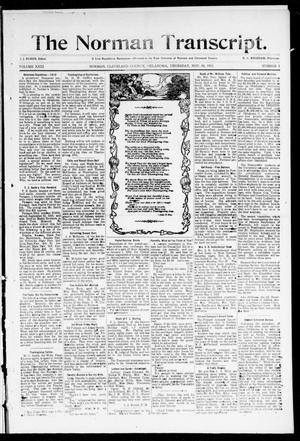 Primary view of object titled 'The Norman Transcript. (Norman, Okla.), Vol. 22, No. 1, Ed. 1 Thursday, November 30, 1911'.