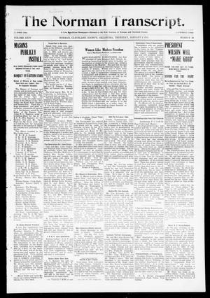 Primary view of object titled 'The Norman Transcript. (Norman, Okla.), Vol. 24, No. 18, Ed. 1 Thursday, January 2, 1913'.