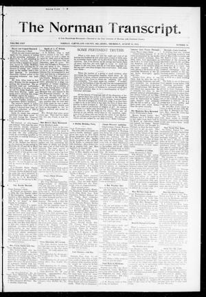 Primary view of object titled 'The Norman Transcript. (Norman, Okla.), Vol. 24, No. 50, Ed. 1 Thursday, August 14, 1913'.